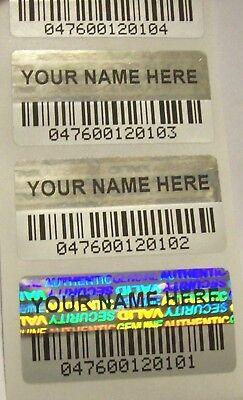 Barcode Label Printing (100 Custom Print BARCODE Security Hologram Tamper Evident Label Stickers)