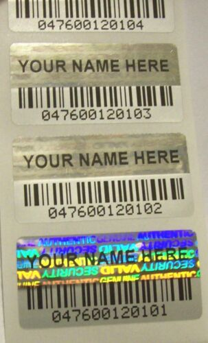 100 BCc Custom Print BARCODE Security Hologram Tamper Evident Label Stickers