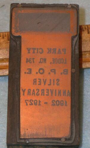 Antique PARK CITY UT BPOE Lodge 1927 Badge Copper Printing Block MC Lilley F204