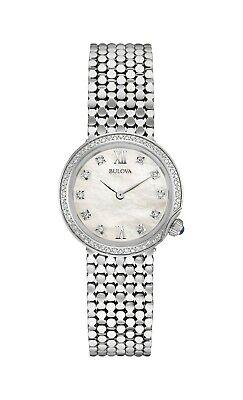 Bulova Men's Quartz Diamond Accents Silver-Tone Bracelet 28mm Watch 96R206