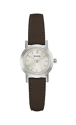 Bulova Women's Classic Quartz Brown Leather Band Grey Dial 24mm Watch 96L210