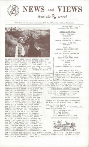 Orig. Santa Barbara Rancheros Visitadores News and Views May 5th, 1973 Very Rare