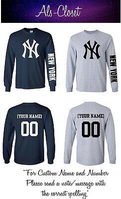 Custom Yankees Shirt (New York Yankees Logo Baseball Long Sleeve Shirt with Custom)
