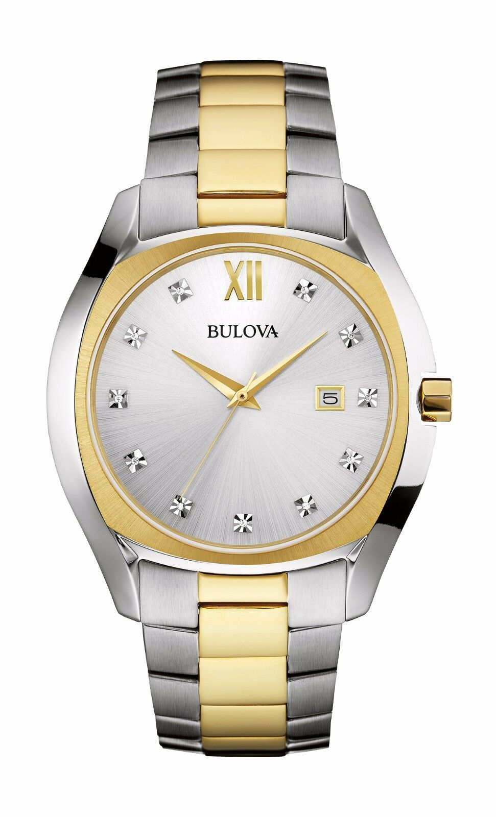 Bulova men 39 s 98d125 diamond dial quartz two tone dress watch ebay for Diamond dial watch