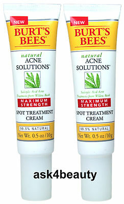 2Pcs Burt's Bees Acne Solution Maximum Strength Spot Treatment Cream 0.5ozx2 New