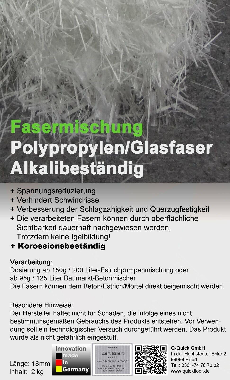 Polypropylenfasern Glasfasern Estrichfaser ++Alkaliresistent++ 2kg 18mm bis 52qm