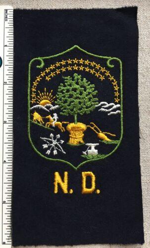 Vintage 1950s NORTH DAKOTA Embroidered Felt Badge PATCH N.D. Uniform Jacket
