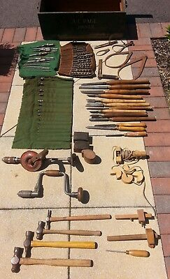 Vintage Carpenters Toolbox including Vintage Wooden Tools - Great Condition