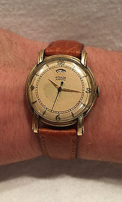 Rare Early LeCoultre Automatic Power Reserve 17j Cal 481 Gold Watch
