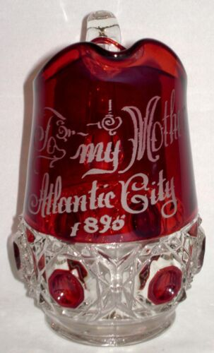 """EAPG 1895 Atlantic City Ruby Stained Glass Pitcher 6 3/8"""""""