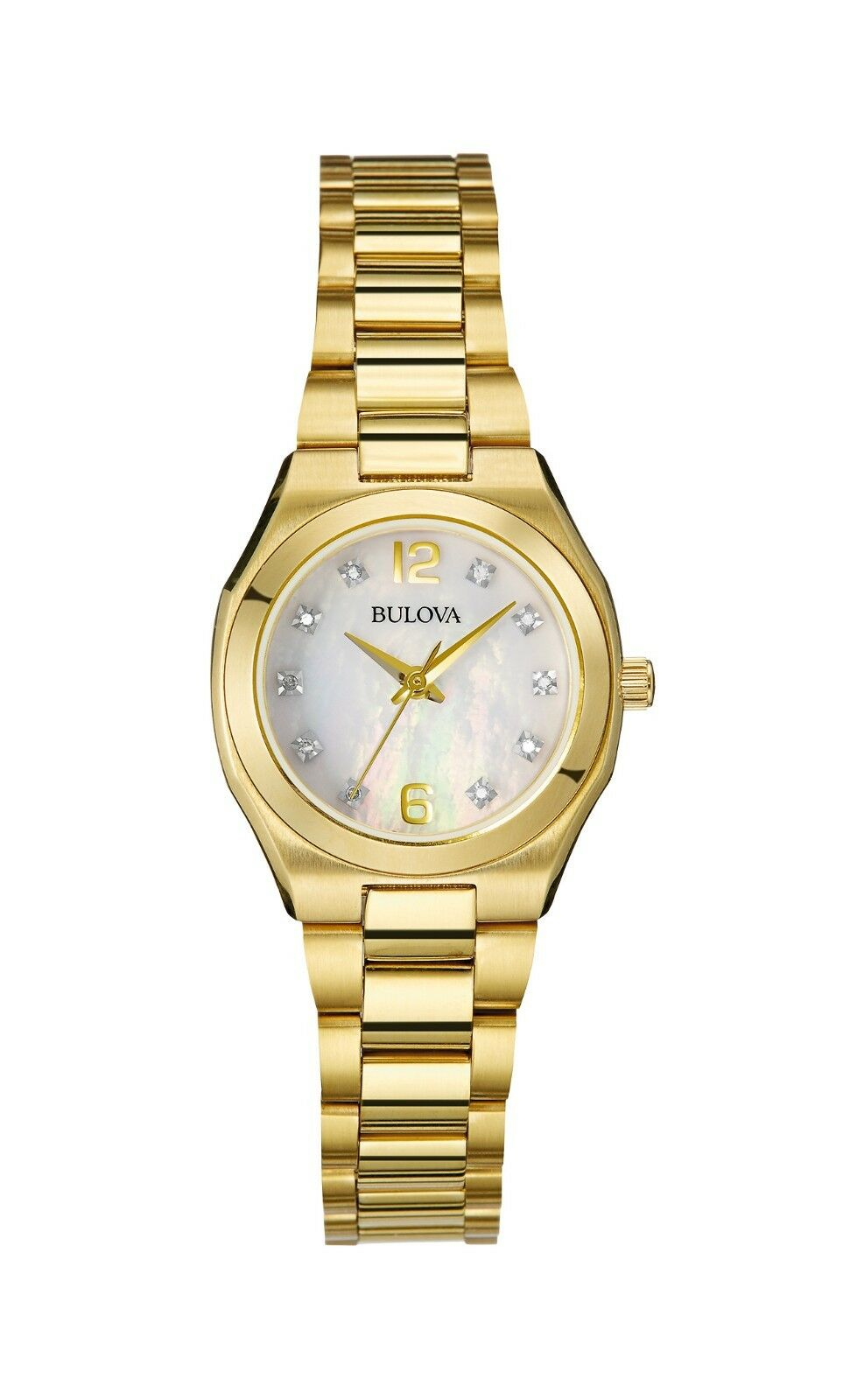 Bulova Women's 97P109 Quartz Diamond Mother of Pearl Dial Gold-Tone 30mm  Watch