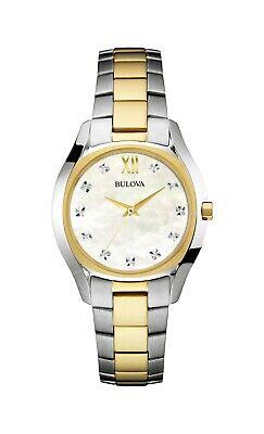 Bulova Women's Quartz Diamond Accent Markers Two-Tone Bracelet 32mm Watch 98P145