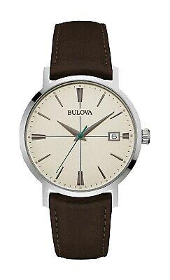 Bulova Men's Quartz Cream Dial Brown Leather Strap 39mm Watch 96B242