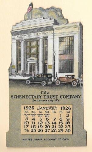 1926 Schenectady Trust Bank Advertising Calendar New York Die Cut Easel Back NOS