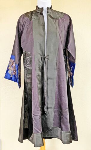 Vintage Embroidered Silk Satin Kimono Purple Black Blue w Gold & Bronze