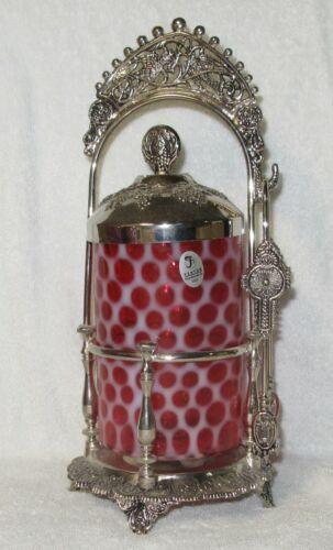 Fenton Art Glass Cranberry Opalescent Pickle Castor Jar - Honeycomb Pattern