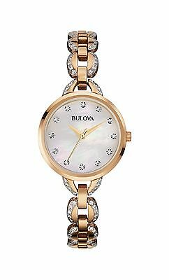 Bulova Women's 98L207 Genuine Crystals Quartz Rose Gold Dress Bracelet Watch