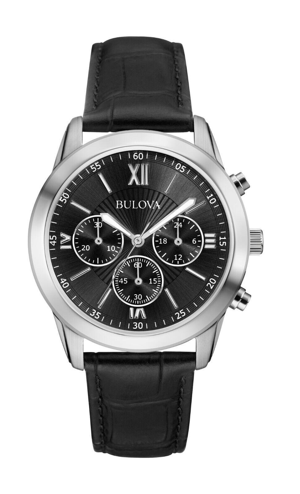 Bulova Men's Quartz Chronograph Black Dial Black Leather 40m