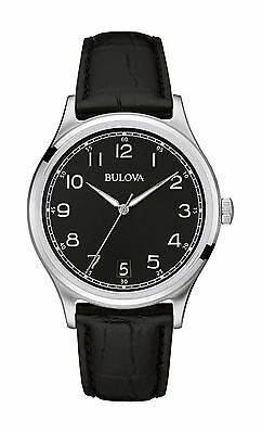 Bulova Men's 96B233 Undying Collection Quartz Black Dial Leather Strap Chronometer