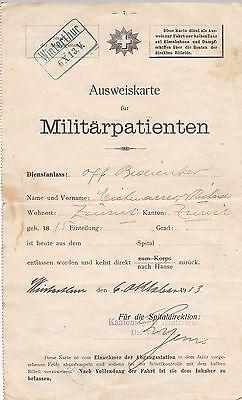 Ausweiskarte für Militärpatienten 1913 Winterthur Schweiz Militaria Stempel rar