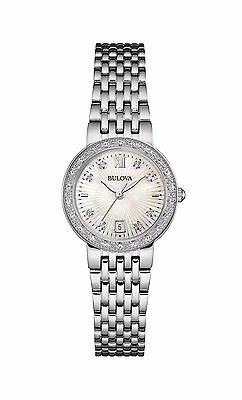 Bulova Women's 96R203 Diamond Dial Quartz Stainless Steel Bracelet 26mm Watch