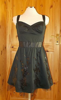ASOS black sequin 50's pin up vintage style short party prom LBDdress 14 42 BNWT
