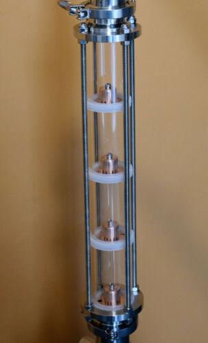 "2"" Borosilicate glass copper bubble plate moonshine reflux column Free Shipping"
