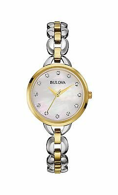 Bulova Women's 98L208 Facets Quartz Crystal Markers Two Tone Bracelet Watch
