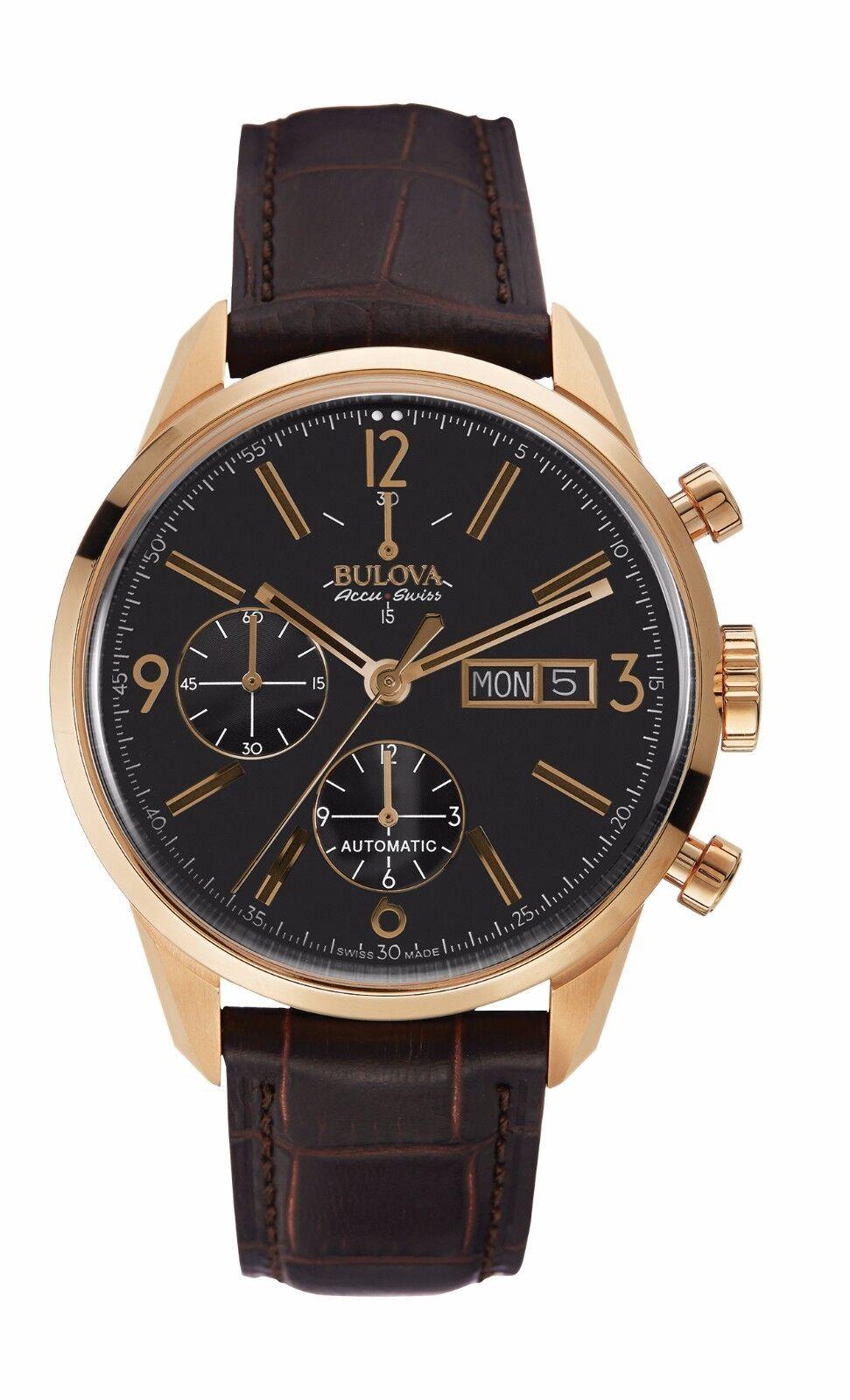Bulova Accutron Men's 64C106 Accu Swiss Murren Chronograph Leather 41mm Watch