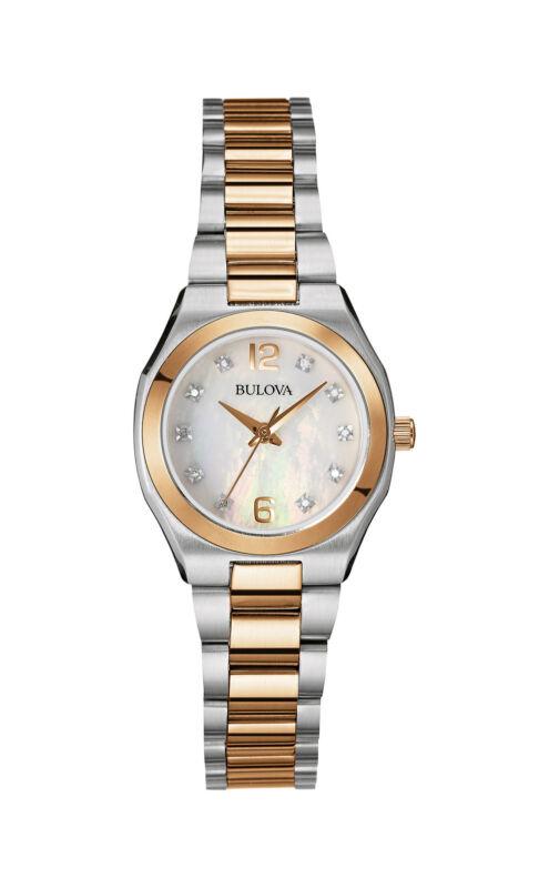 Bulova Women's Quartz Diamond Gallery Rose Gold Tone 26mm Watch 98P143