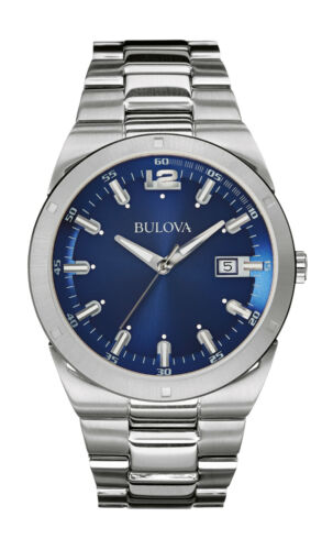 Bulova Men's 96B220 Classic Quartz Blue Dial Silver-Tone Bracelet 43mm Watch