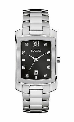 Bulova Diamond Black Dial - Bulova Men's 96D125 Diamond Markers Black Dial Silver-Tone Bracelet 31mm Watch