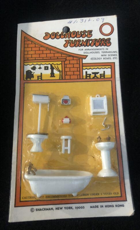 Vintage Dollhouse Furniture New Old Stock Shackman Bathroom Toilet Tub Porcelain