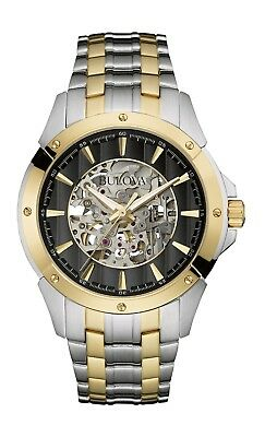 Bulova Mens 98A146 Automatic Black Skeleton Dial Two Tone Bracelet 43Mm Watch