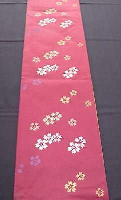 Vintage authentic Japanese hanhaba obi for kimono, wine red, flowers (K593)