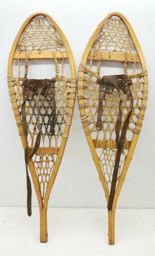 Antique Vintage 11 X 36 Kid Child Snowshoes Usable Or Decor FREE SHIPPING