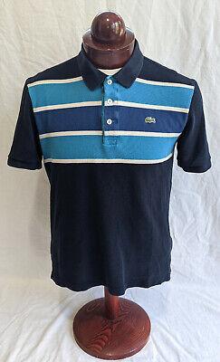 LACOSTE Short Slvd, all Cotton Devanlay Polo, Blue Stripes, Lacoste sz 5-US L