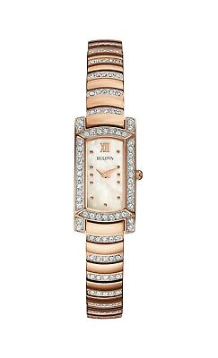 Bulova Women's 98L205 Quartz Crystal Accent Rose Gold Bracelet 15mm Watch