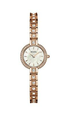 Bulova Women's 98L215 Quartz Crystal Accent Rose-Gold Tone Bracelet 22mm Watch