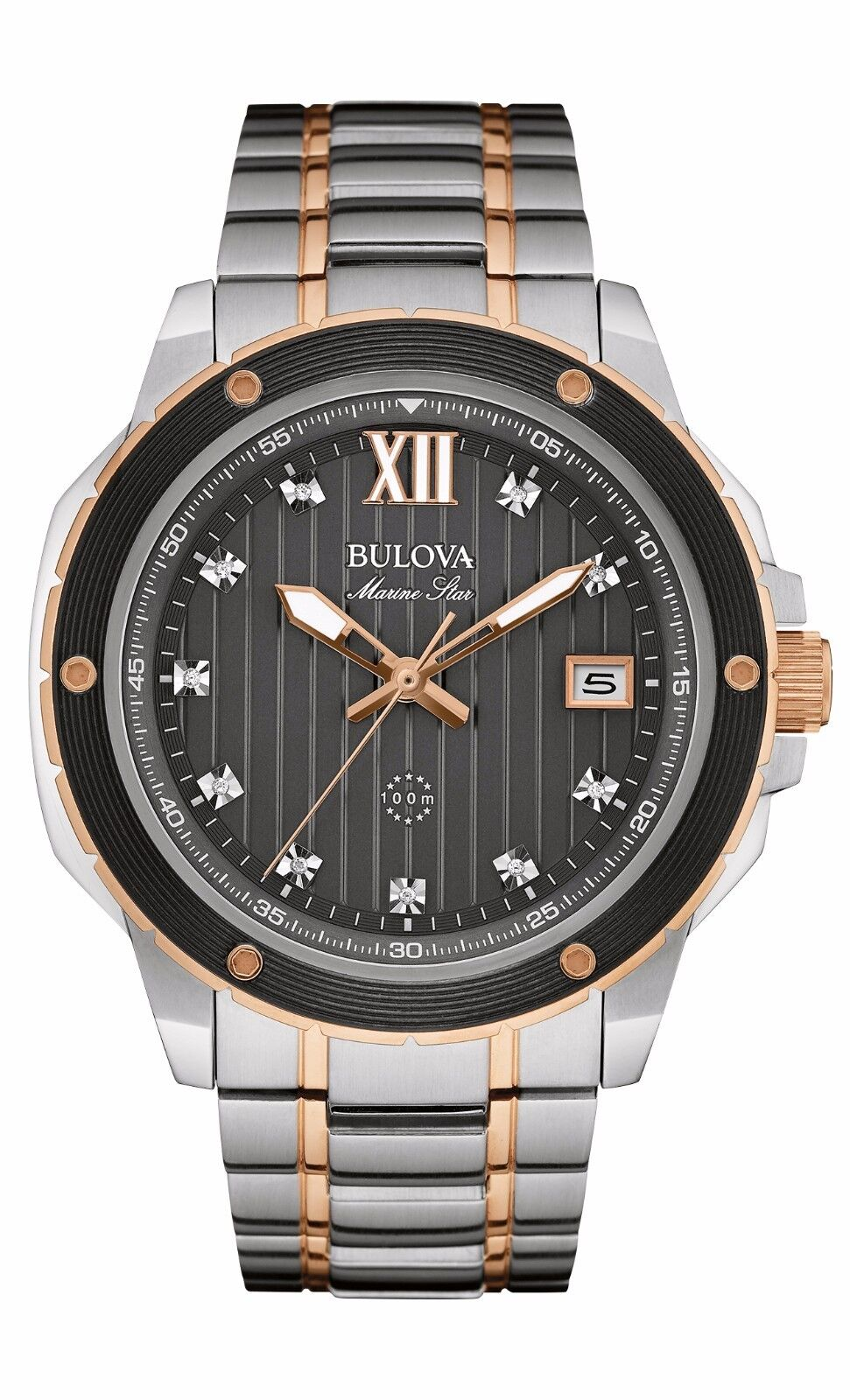Bulova Men S 98d127 Marine Star Diamond Markers Two Tone
