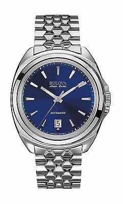 Bulova Accu Swiss Men's 63B186 Telc Blue Dial Silver Tone Bracelet 42mm Watch