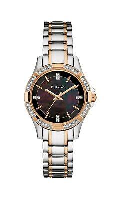 Bulova Women's Quartz Swarovski Crystal Mother of Pearl Dial 30mm Watch 98L219