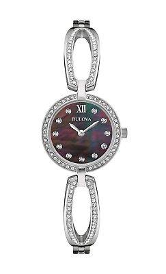 Bulova Women's 96L224 Quartz Crystals Black Mother of Pearl Dial 26mm Watch