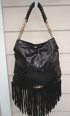 NEW $2695 Jimmy Choo Tatum Shoulder Bag Black Snakeskin Fringe Chain Leather