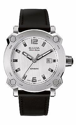 Bulova Accu Swiss Men's 63B191 Percheron Silver-Tone Case Leather Band Watch