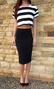 LONG Tall Jersey Tube Skirt Midi Length. Plain or Print