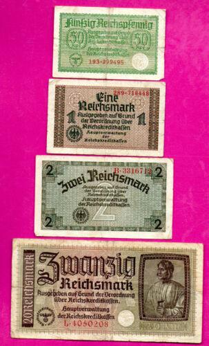 GERMANY LATVIA LOT OF 4 BANKNOTES Reichsmark 1940-45 EAGLE W/H SWASTIKA 411