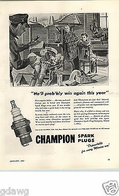 1947 PAPER AD Champion Spark Plugs Outboard Mechanic Motor Boat Motorboat