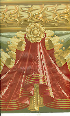 VICTORIAN  RED AND GREEN  DRAPERY SWAG  WALLPAPER BORDER