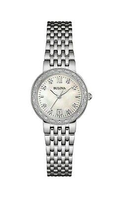 Bulova Women's Quartz Diamond Accents Silver-Tone Bracelet 26mm Watch 96R203
